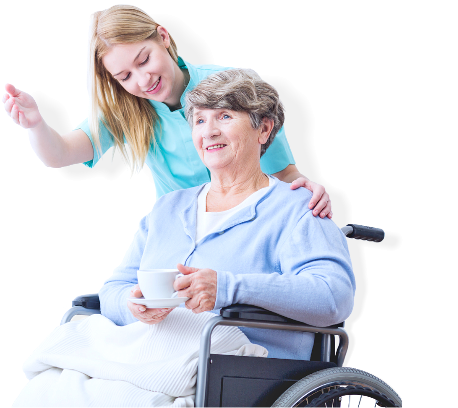 senior woman on a wheelchair accompanied by her caregiver